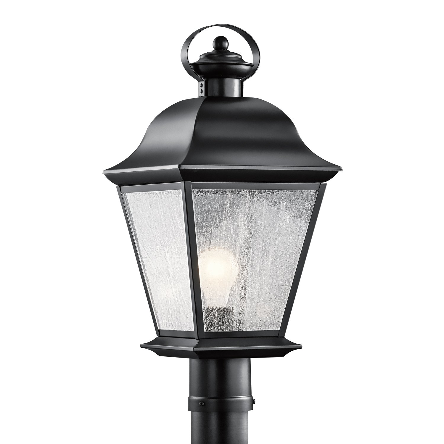 Kichler Lighting 9909BK Mount Vernon 1-Light Outdoor Post Mount, Black Finish with Clear Seedy Glass