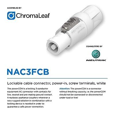 NAC3FCA Assembled in The USA Genuine Neutrik 14 AWG ChromaLeaf Neutrik Professional powerCON A to powerCON B 3 Feet Extension Power Cable NAC3FCB