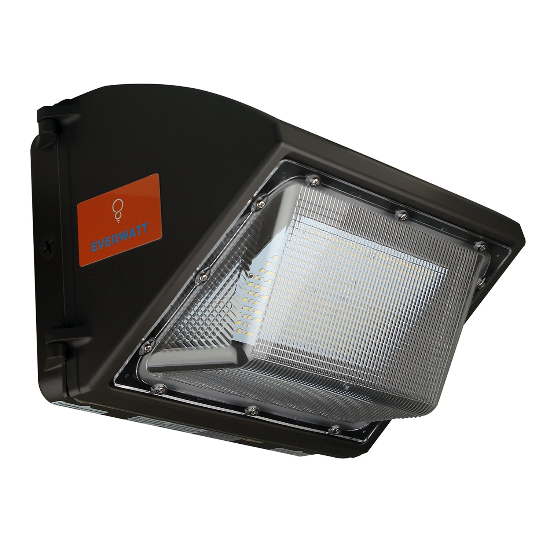 EverWatt LED Wall Pack 60W Fixture, 250-300W HPS/HID Replacement, 5000K, 7500 Lumens, Commercial and Industrial Outdoor Lighting, IP65 Waterproof - DLC & UL