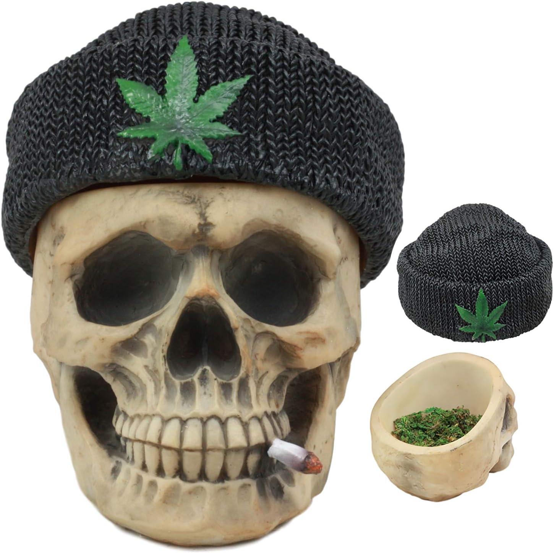 Ebros Got Weed? Day of The Dead Ossuary Smoking Human Skull With Cannabis Weed Leaf Beanie Hat Ashtray Jewelry Box Figurine Skeleton Cranium Trinket Stash Box Statue 6.5