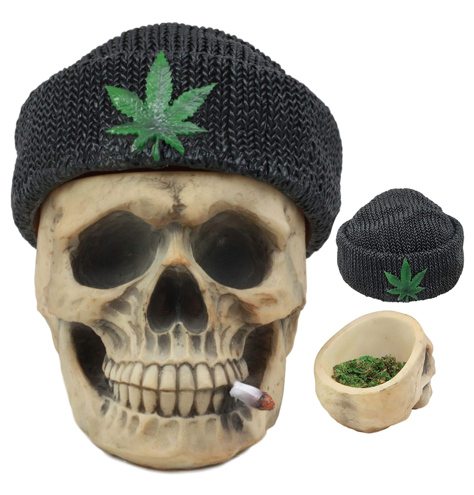 Ebros Got Weed? Day of The Dead Ossuary Smoking Human Skull with Cannabis Weed Leaf Beanie Hat Ashtray Jewelry Box Figurine Skeleton Cranium Trinket Stash Box Statue 6.5'' Long Or As Cigarette Ashtray