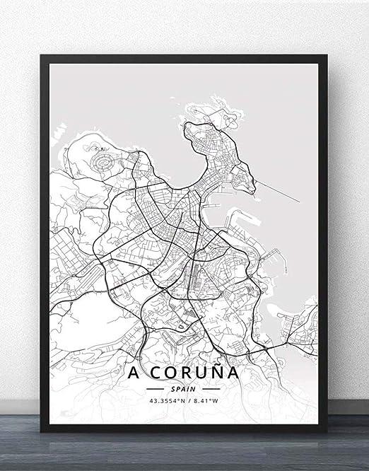 ZWXDMY Impresión De Lienzo,España A Coruña Mapa De La Ciudad En ...