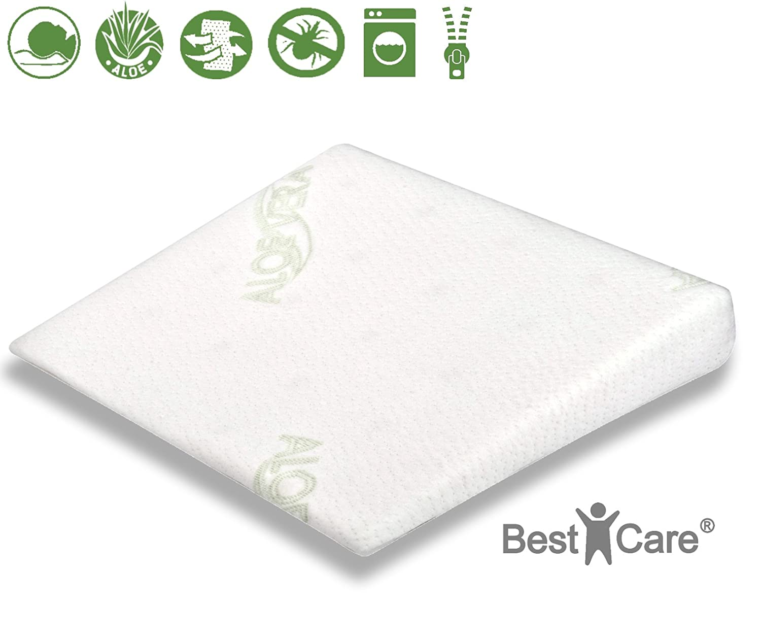 BestCare® - High quality, pressure relieving and breathable baby/children pillow, in 4 sizes, perfectly fits into nearly all Cribs, Bed side cots, Prams, Moses Baskets, many sizes available to avoid dangerous gaps + with Aloe Vera cover for sensitive skin