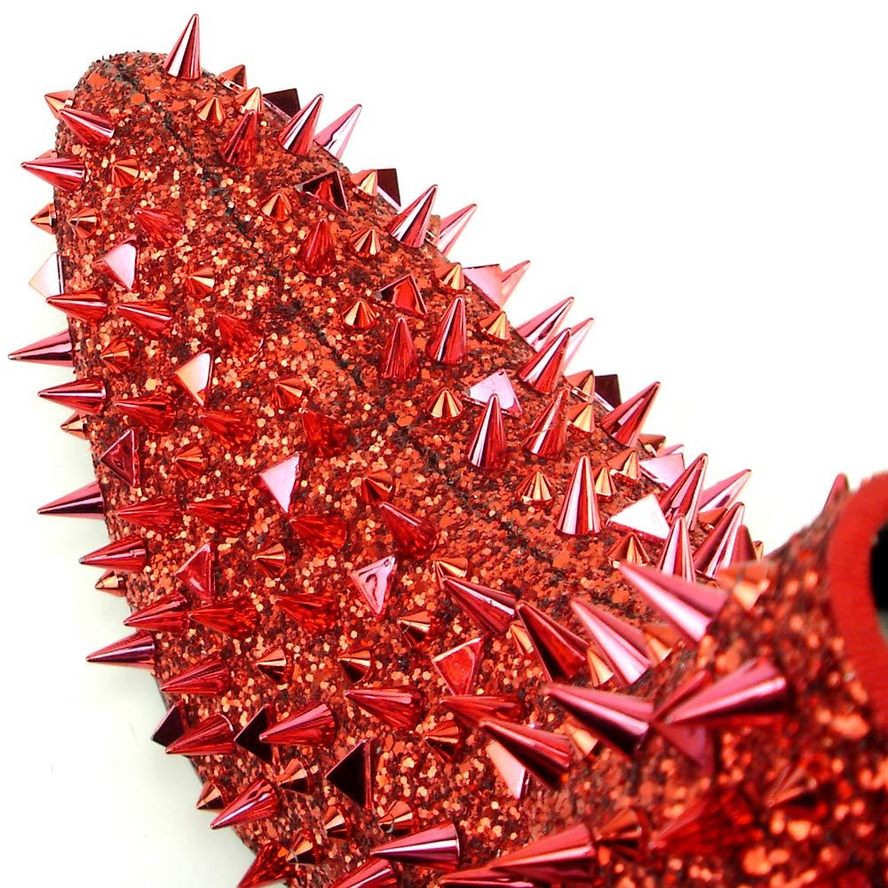 European Shoe Designs Fiesso by Aurelio Garcia FI-7316 Red Glitter Red Spikes Boot with Side Zipper