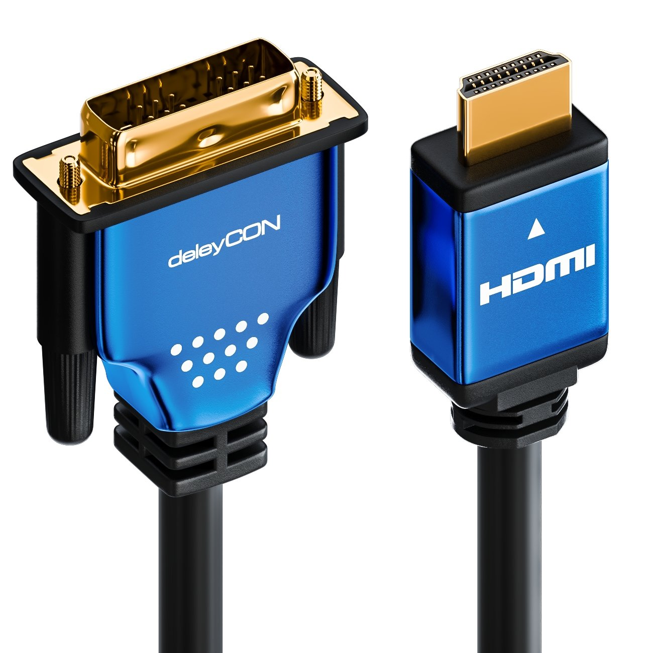 deleyCON HDMI a DVI negro Cable adaptador HDMI a DVI 1080p // Full HD // 3D Ready 2 m