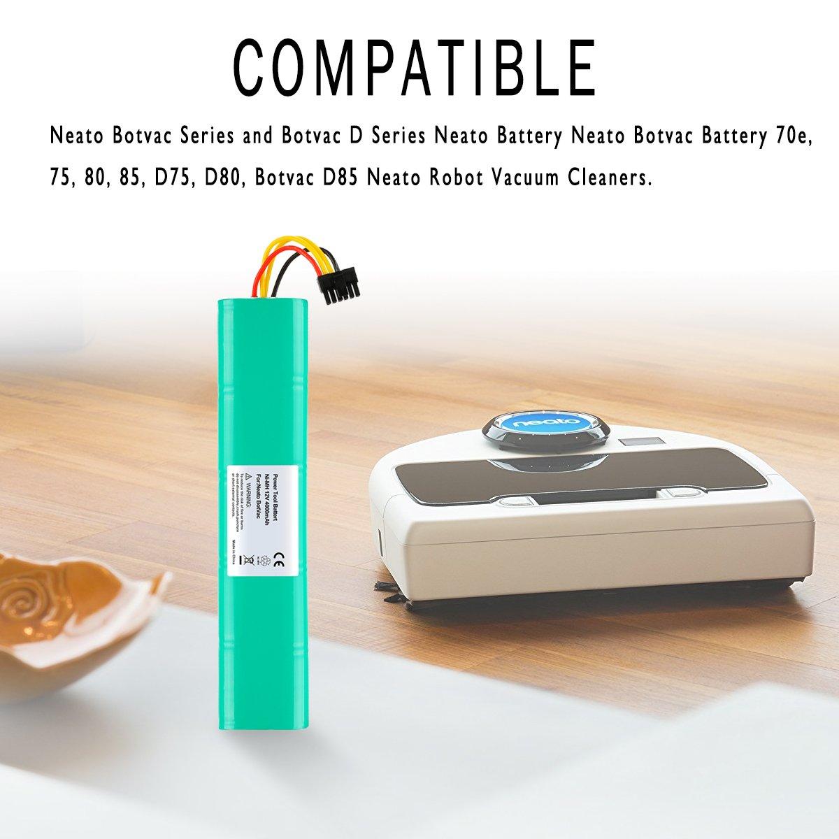 ANTRobut - Batería de Repuesto para Neato Botvac, Serie D y Botvac, 4000 mAh, 12 V, NiMh, Serie Robots Botvaca 70e, 75, 80, 85, D75, D80, BotvacD85 Neato ...