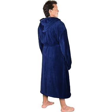 NY Threads Luxurious Men's Shawl Collar Fleece Bathrobe with Hood