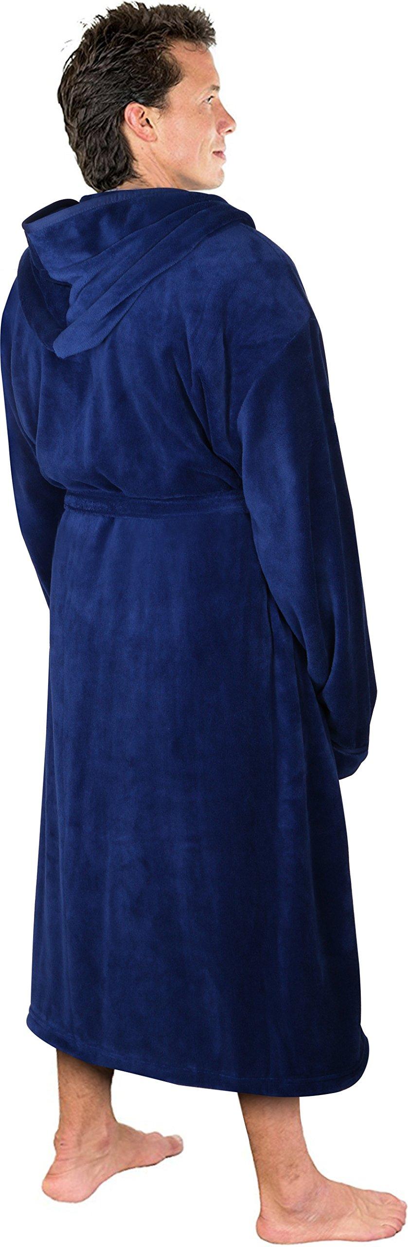 NY Threads Luxurious Men's Shawl Collar Fleece Bathrobe with Hood (Navy, S/M)