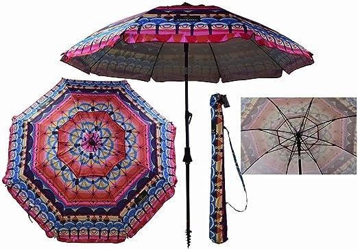 Sombrilla Crevicosta - Sombrilla con espiral, aluminio reforzado, diseño RÉtnica, 200 cm de diámetro de parasol: Amazon.es: Jardín