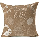 Rabbit Happy Easter Home Decor Throw Pillow Case Cushion Cover 18 x 18 Inch Cotton Linen