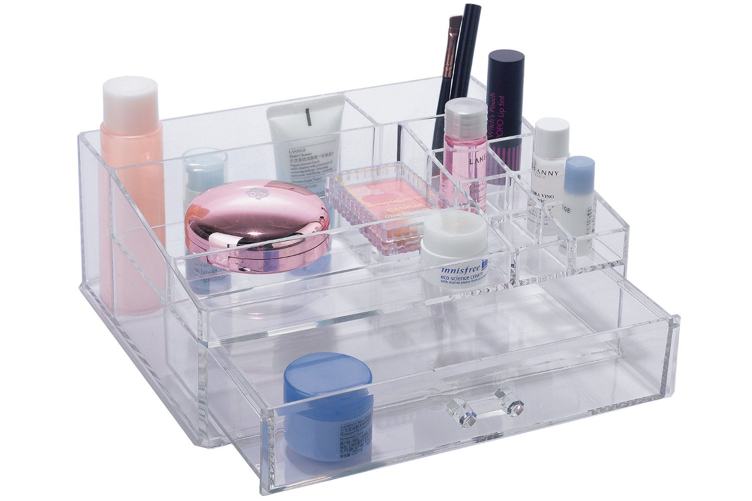 BathSense Acrylic Collection Bathroom Vanity Top Makeup & Jewelry Organizer with 12 Storage Compartments, Transparent