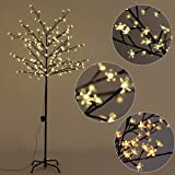 Goplus Cherry Blossom Lighted Tree LED Floor Lamp Warm White for Christmas Tree, Party, Wedding, and Festival Deoration (6FT 160LED)