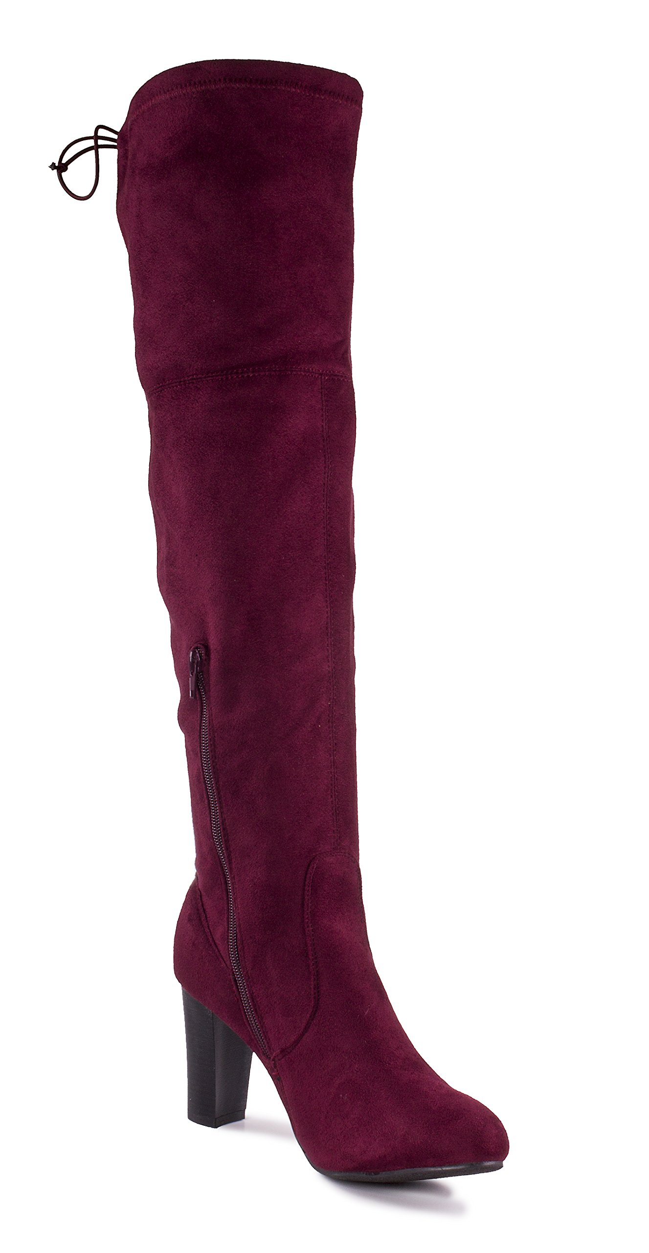 Charles Albert Women's Suede Thigh High Over-The-Knee Stacked Heeled Boot in Burgundy Size: 9 by Charles Albert