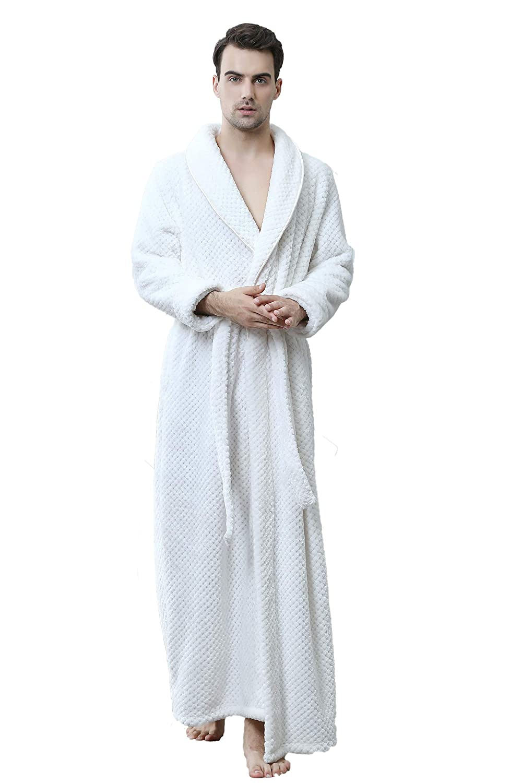 Cahayi Unisex Bathrobe Women Men Winter Thick Warm Long Robe Sleepwear Housecoat CABR1506