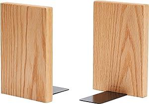 pandapark Wooden Bookends,Nature Coating,Decorative Bookend (Oak - 1 Pair)