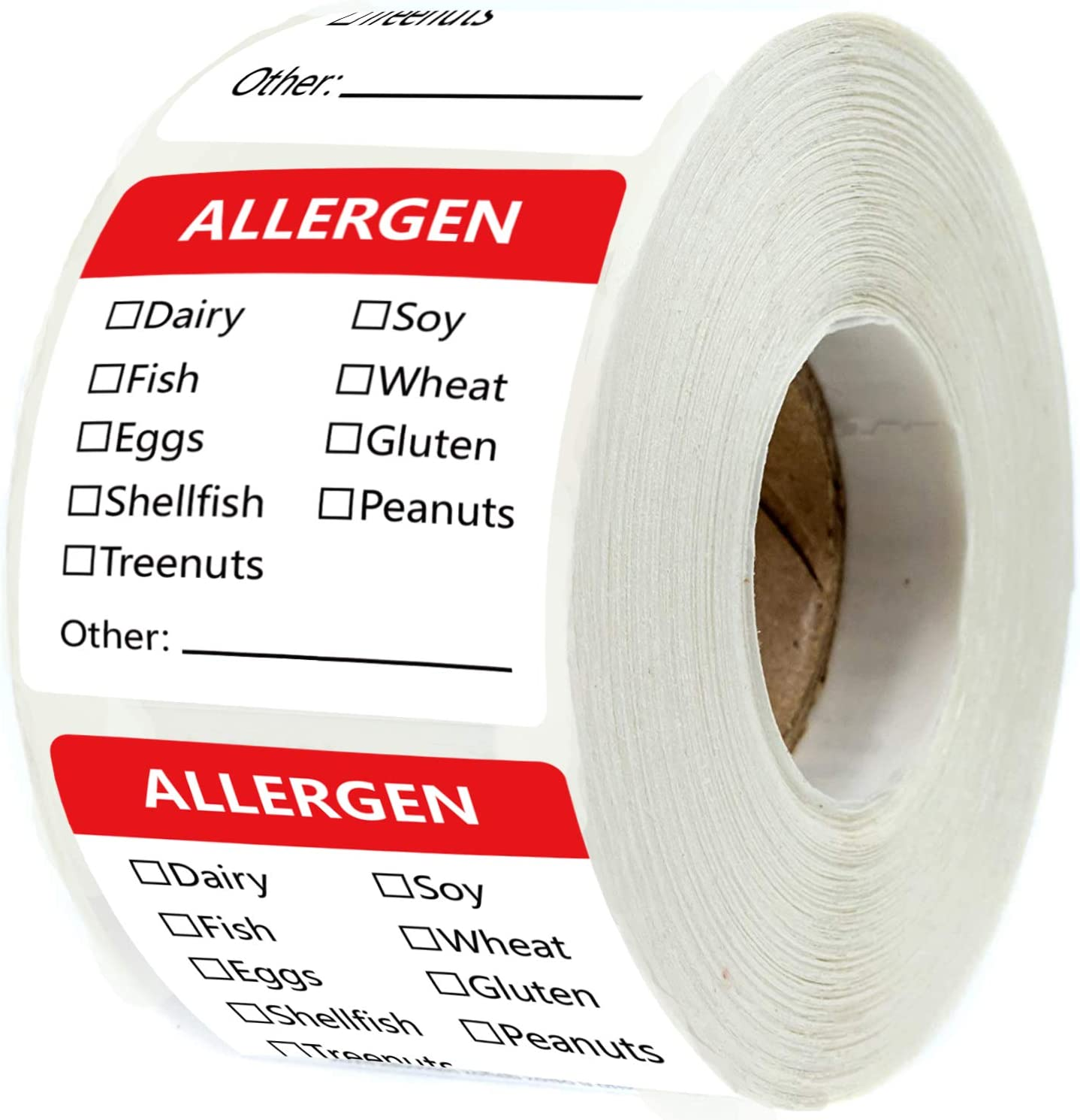 Allergen Warning Stickers 1.8 X 2 Inch - Fluorescent Red Food Rotation Labels Removable Allergen Label 500 Adhesive Allergy Stickers (Red, 1.8 X 2 inch)