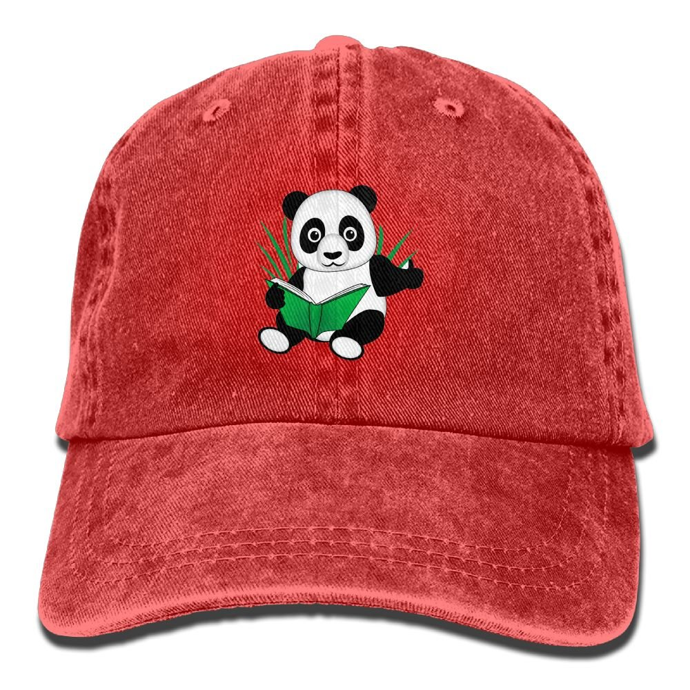 SVVOOD Unisex Adult Hat Cute Reading Panda Washed Denim Dad Baseball Cap Adjustable