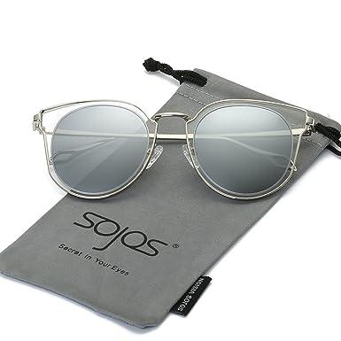SojoS Lunettes de Soleil Unisexe Rond Vintage Double Verres Polarisés Miroités UV Protection SJ1057 2naAFO