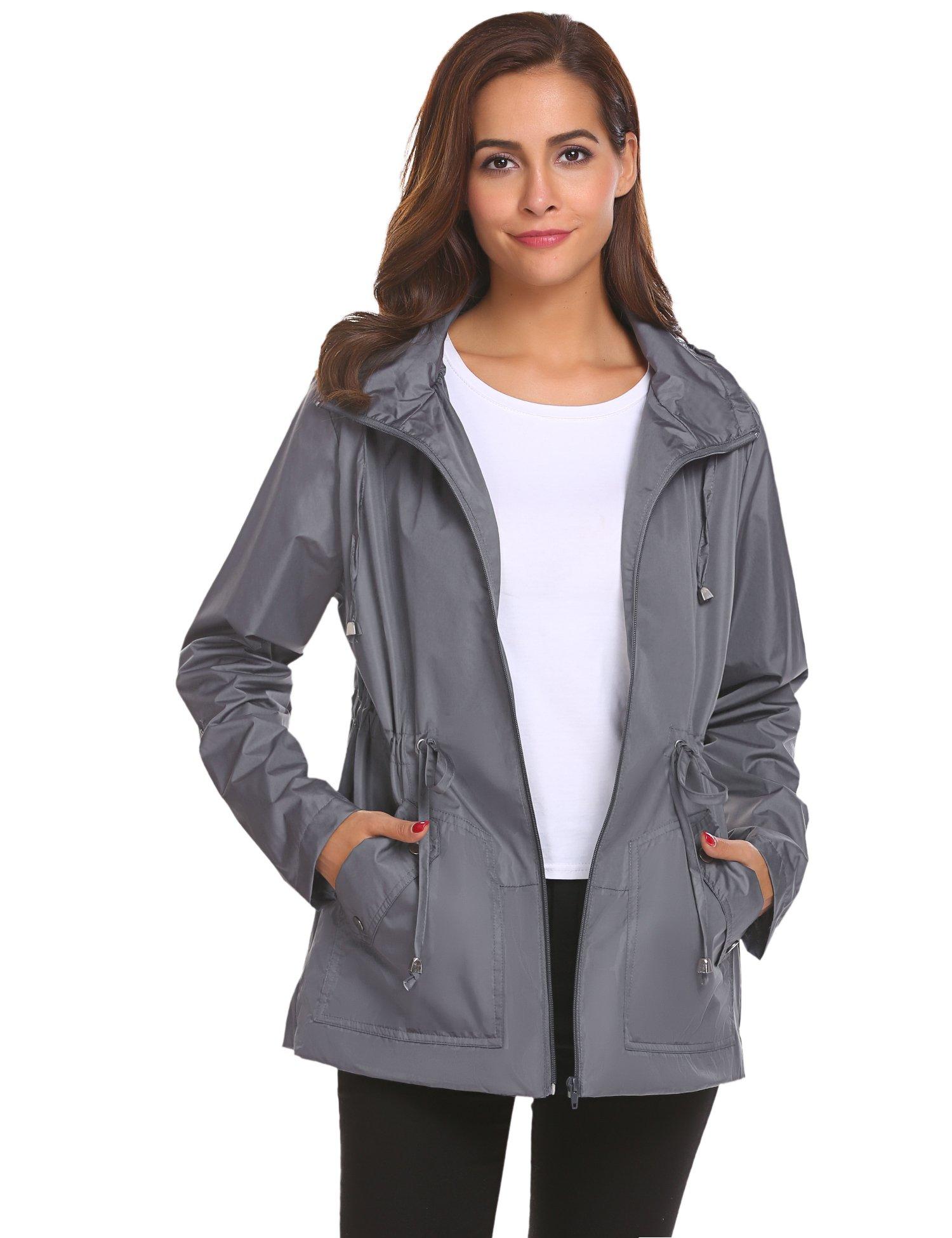 Romanstii Mountain Coats for Women,Waterproof Rain Jacket Windbreaker Outdoor Wear Gray,M by Romanstii