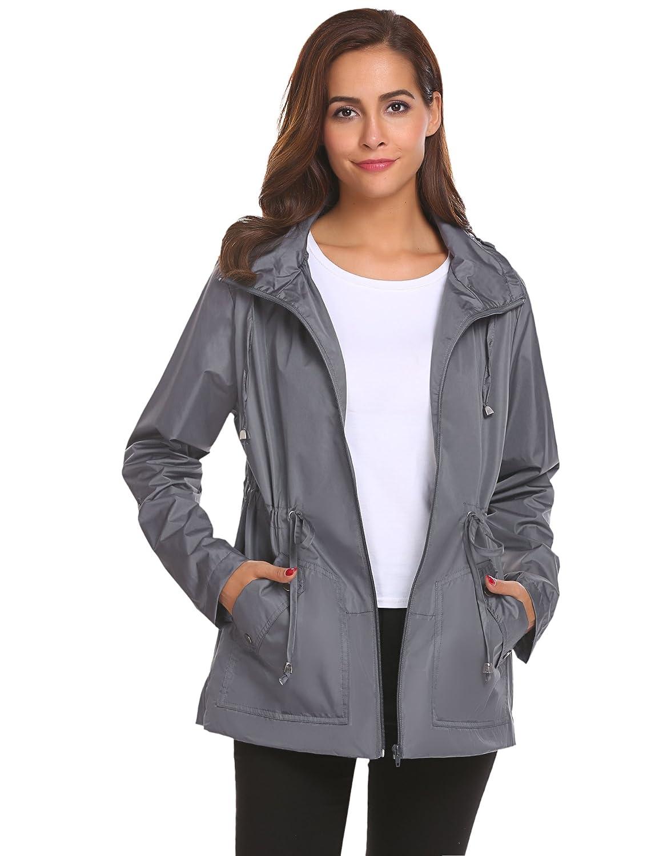 Romanstii OUTERWEAR レディース B076CHW9XR S|Gray Windproof Raincoat Gray Windproof Raincoat S