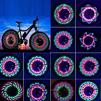 Yansy - Juego de 2 Luces para radios de Bicicleta, 32 Luces LED ...
