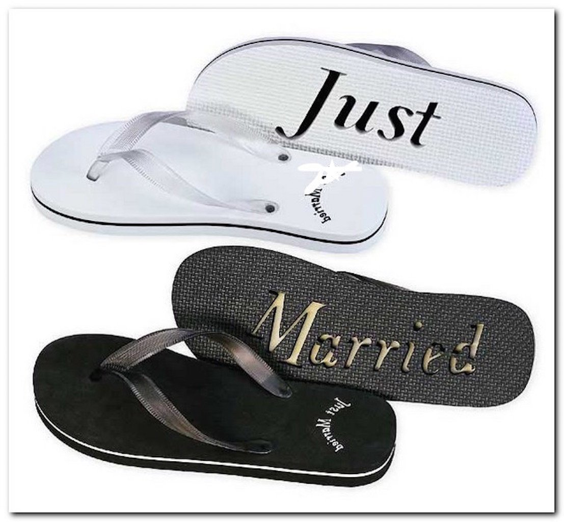 Just Married Flip Flops Black White 8 Woman's and 11 Men's Black