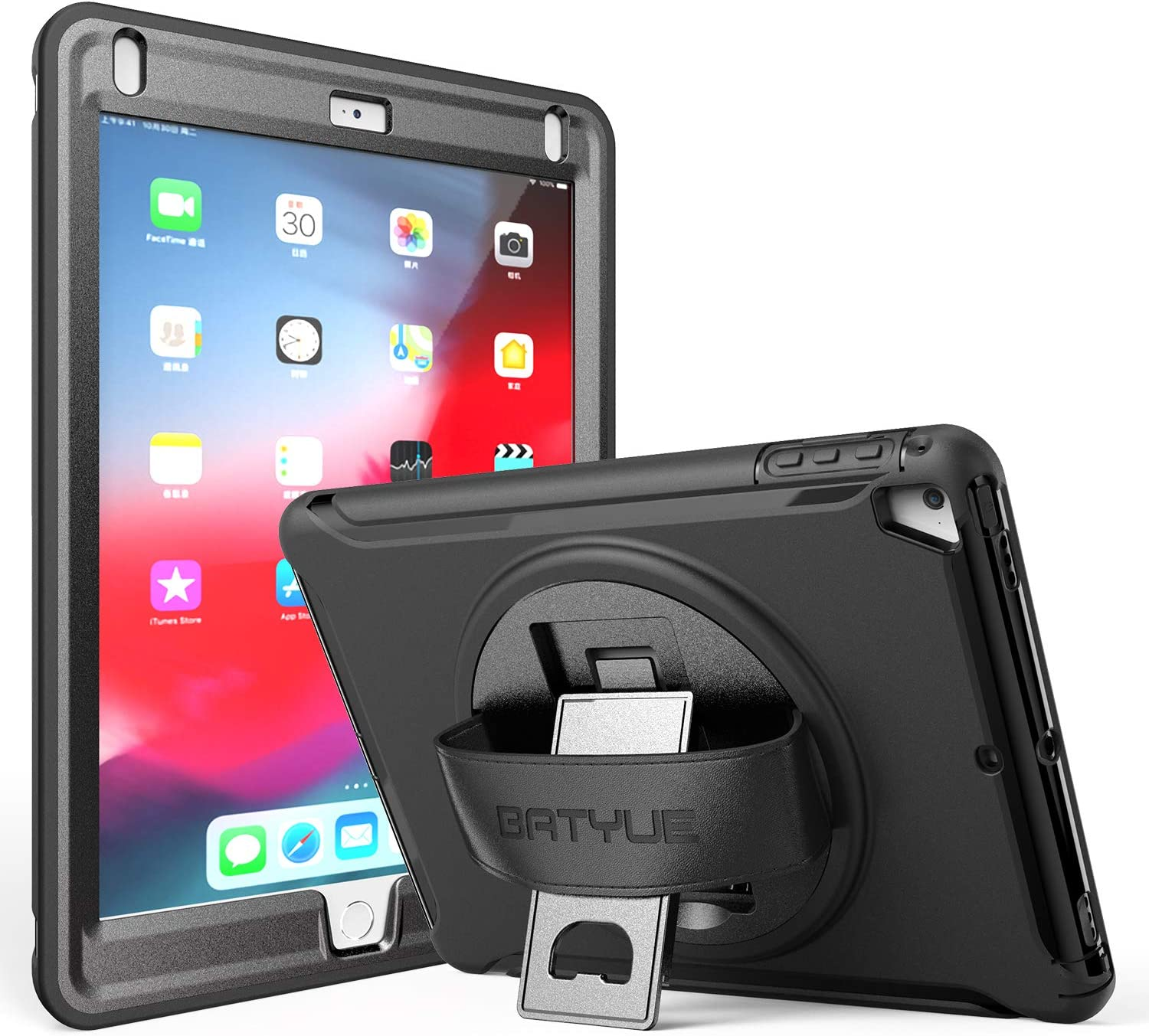 BATYUE iPad 9.7 Case 2018 iPad 6th Generation Case/ 2017 iPad 5th Generation Case, 3 Layer Heavy Duty Rugged iPad Air 2 Case/ iPad Air Case w/360° Swivel Stand + Hand Strap for iPad Pro 9.7 Case Black