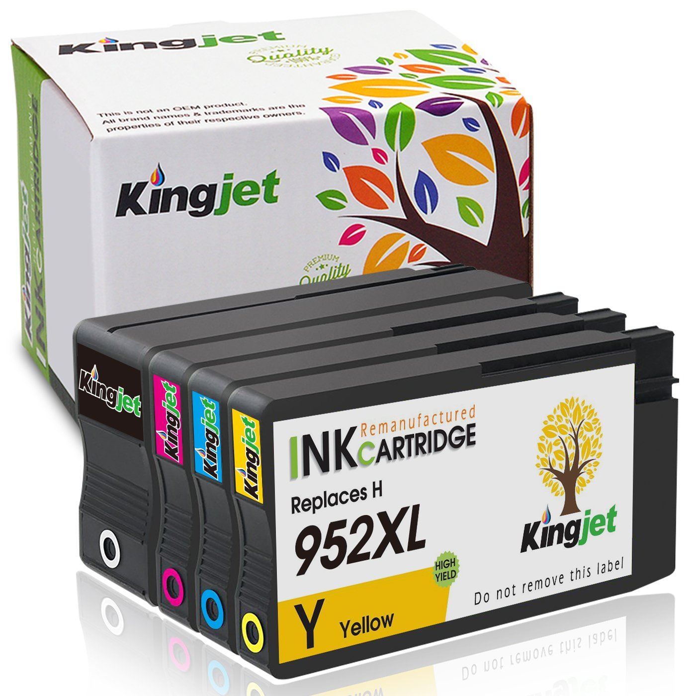 Kingjet Re-Manufactured Ink Cartridge Replacement for 952XL Work with Officejet Pro 7740 8210 8216 8702 8710 8715 8720 8725 8730 8740 Printers, 1Set (1Black 1Cyan 1Magenta 1Yellow)