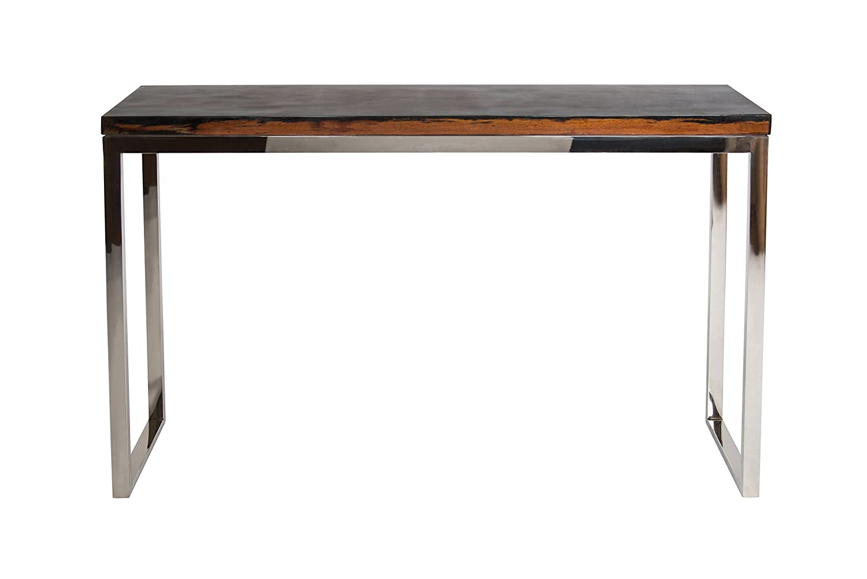 Amaris Elements | U0027Davisu0027 Moderne Lange Konsole Aus Braunem Holz Und  Edelstahl, Schmale