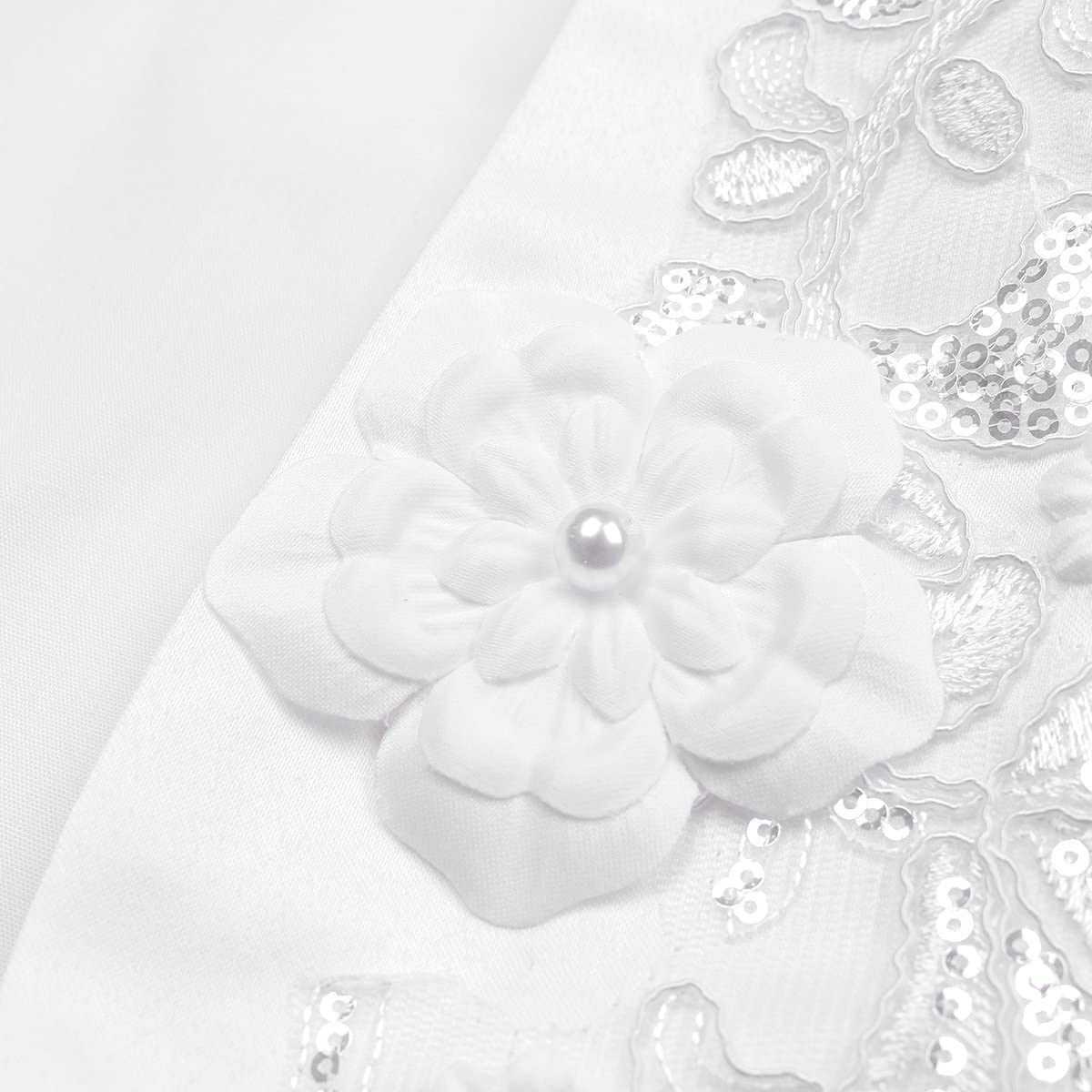 YiZYiF Enfant Fille Gilet /à Manche Longue Dentelle Bol/éro Soir/ée Mariage C/ér/émonie Manteau /à Perles Cardigan Cape pour Robe Princesse Demoiselle dhonneur 2-10 Ans
