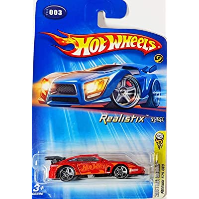 Hot Wheels 2005-003 First Editions Ferrari 575 GTC Realistix 3/20 RED 1:64 Scale - LARGE Headlight Card: Toys & Games