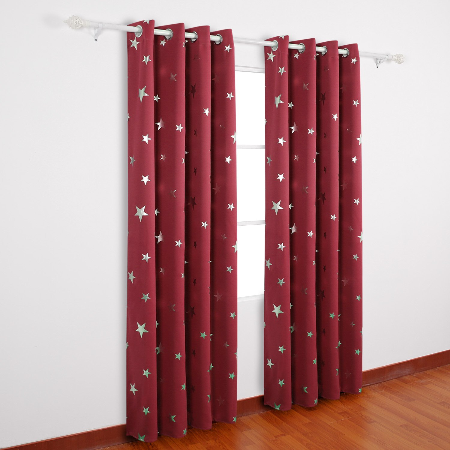 Red Deconovo Solid Thermal Insulated Blackout Curtains with Silver Star Pattern