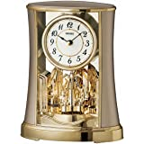 Seiko Mantel Clock with Rotating Pendulum, Gold Finish