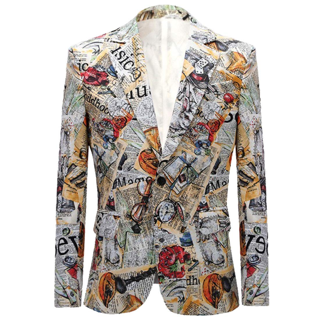CARFFIV Mens Fashion Colorated Floral Print Suit Jacket Casual Blazer (Newspaper, XL/44R) by CARFFIV