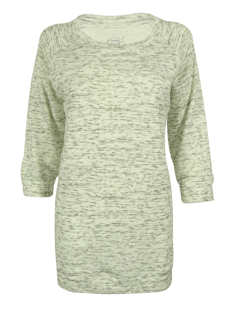 Style & Co. Women's 3/4 Sleeve Sport Sweater (PS, Bright White)