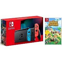 Nintendo Switch w/ Red & Blue Joy-Con + Animal Crossing (New Horizons) Game Bundle