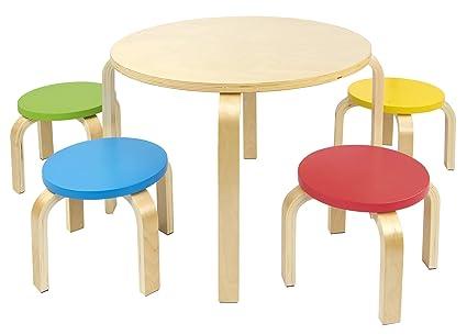 Mesa redonda de madera para niños de 4 y sillas de colores Mesas y ...