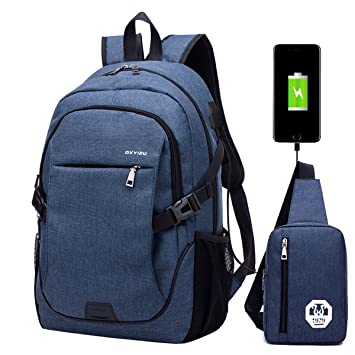 Mochila escolar mochila portátil bolsa de viaje bolsa de viaje para hombre con puerto de carga USB: Amazon.es: Deportes y aire libre