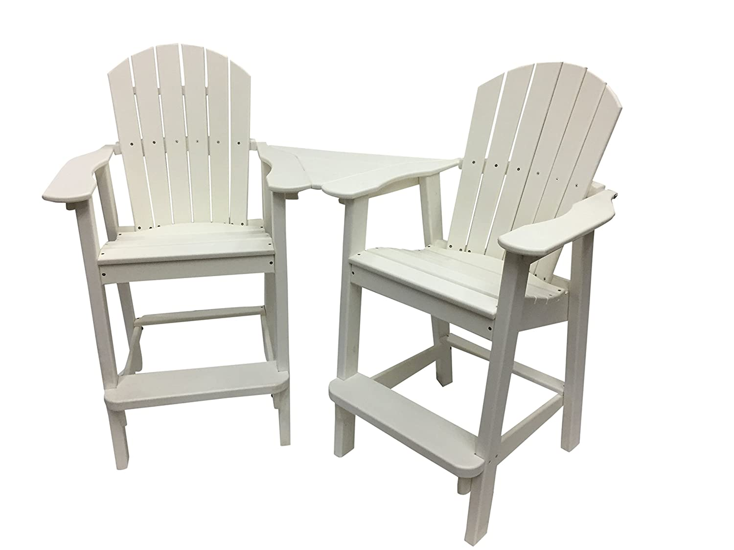 Phat Tommy Recycled Poly Resin Balcony Chair Settee – Durable and Adirondack Patio Furniture, White