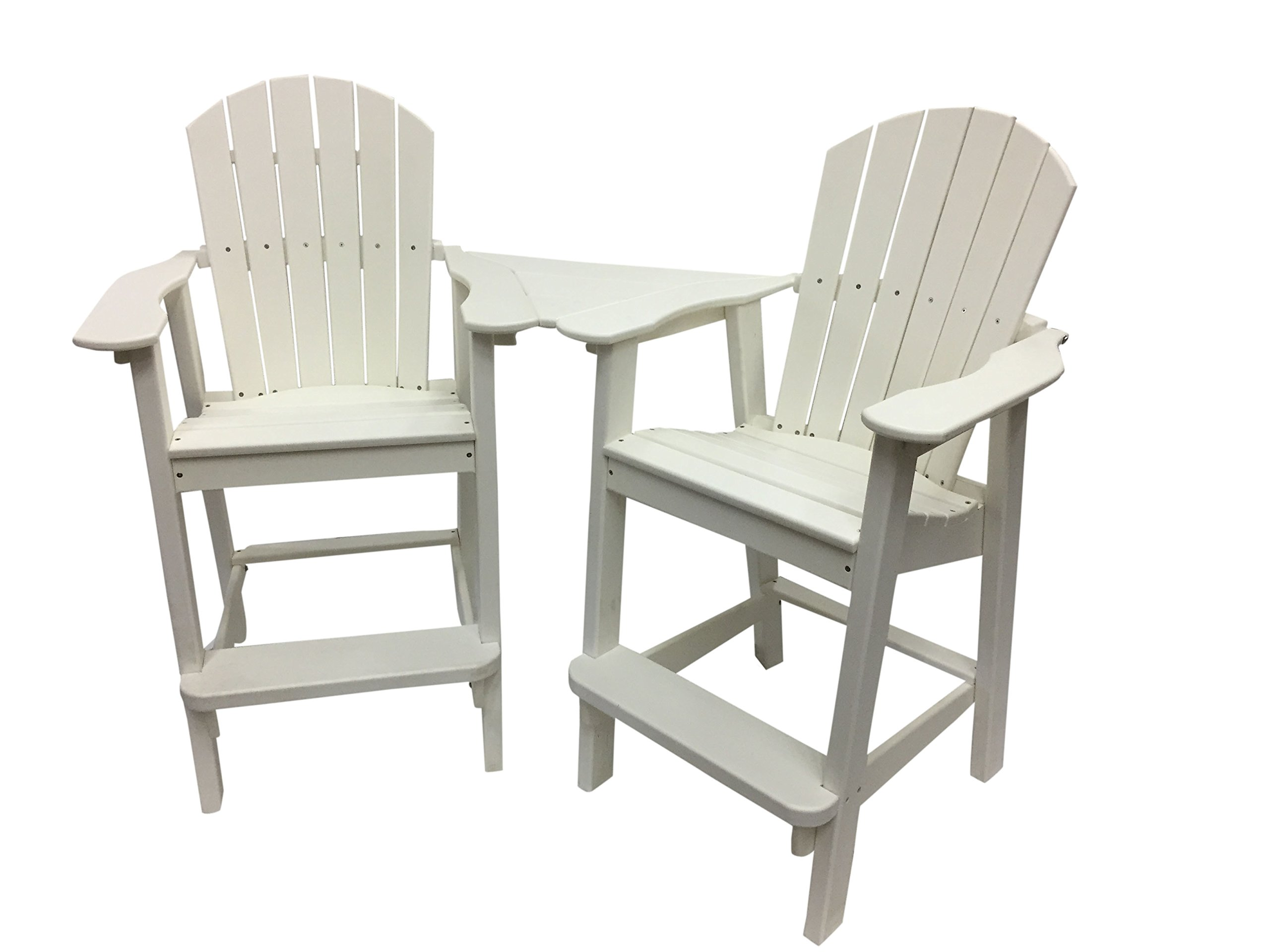 Amazon com phat tommy recycled poly resin balcony chair settee durable and adirondack patio furniture white garden outdoor
