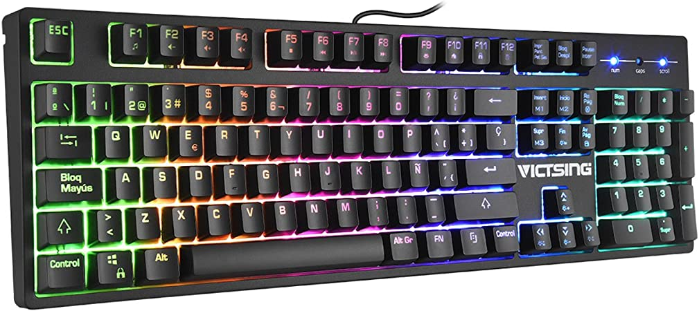 VicTsing Teclado Gaming Español, Mecánico-Similar Teclado, 12 Teclas Multimedia Impermeable con 6 Colors RGB Retroiluminado y Anti-Ghosting, para ...