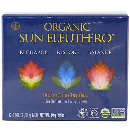 Sun Chlorella- Organic Sun Eleuthero Dietary Supplement- 200Mg Tablets 1200 Count