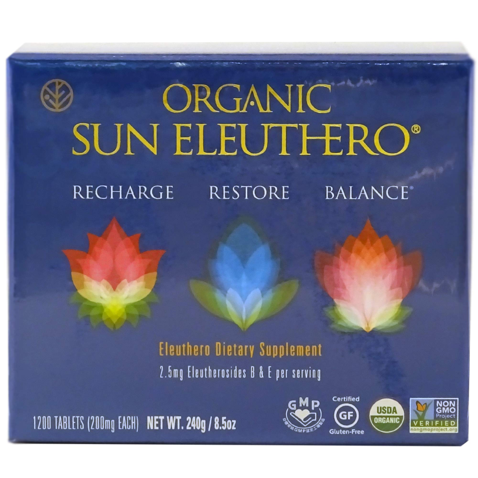 Sun Chlorella- Organic Sun Eleuthero Dietary Supplement- 200Mg Tablets (1200 Count)