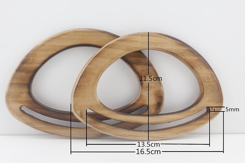 Manico in legno per maniglie, manici borsetta borsetta per borsetta bag making, making, maniglia di ricambio, colore: Nero naturale, a scelta, un paio (2pezzi) per lotto, 6 1/2 inch/16.5cm Natural 3DANCraftit