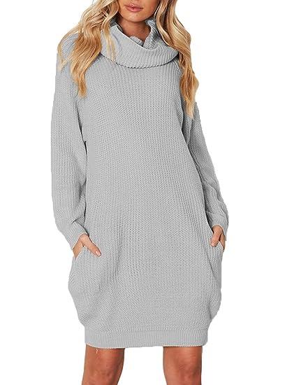 7f417cbc1d3 OUFour Automne Mi-Longue Pulls à Col Roulé Robe Hiver Casual Manches Longues  Chandail Tunique Haut Femme Tops Pullover Tricot Sweater Court Robes de  Party  ...