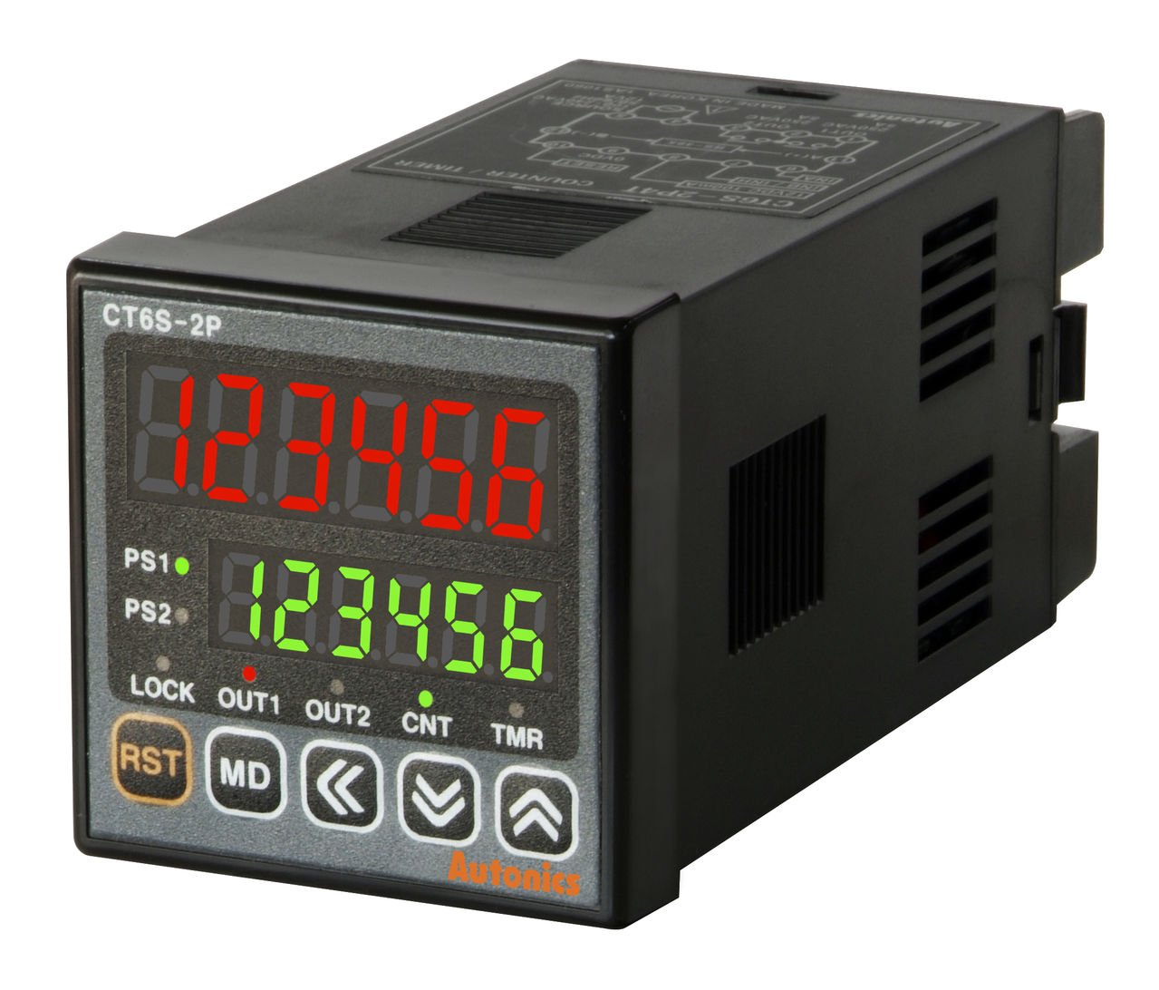 AUTONICS CT6S-1P2 Counter&Timer, 1/16 DIN, 6 Digit, LED, 1 Preset, Relay & NPN Output, 24-48 VDC/ 24VAC by Autonics USA, Inc