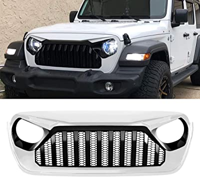 Amazon Com Front Grille Compatible With 2018 2020 Jeep Wrangler Accessories Unlimited White Black Automotive
