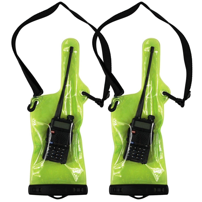 abcGoodefg Waterproof Rainproof Bag Case Pouch for Motorola Kenwood Midland UV-3R UV-5R Walkie Talkie (Green with 2 Pack)