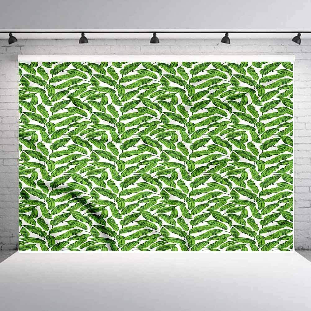 8x8FT Vinyl Backdrop Photographer,Banana Leaf,Lively Green Nature Background for Baby Shower Bridal Wedding Studio Photography Pictures