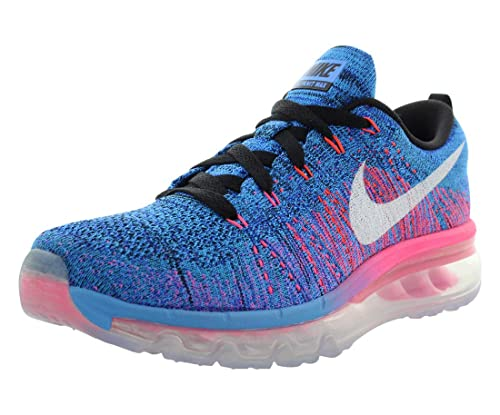 huge selection of 194e5 0a9c1 Nike Womens Wmns Flyknit Max, BLACK WHITE-BLUE GLOW-RACER BLUE,